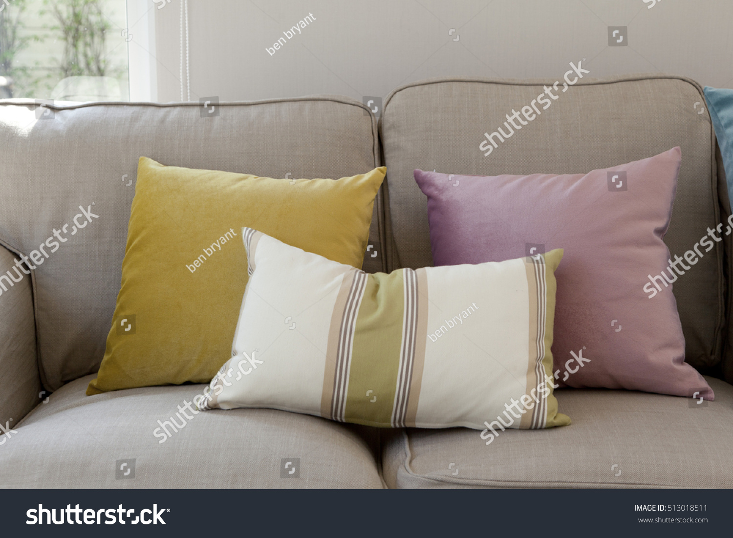 bright colored sofa pillows sofas and sectionals cheap colorful on couch stock photo 513018511 shutterstock