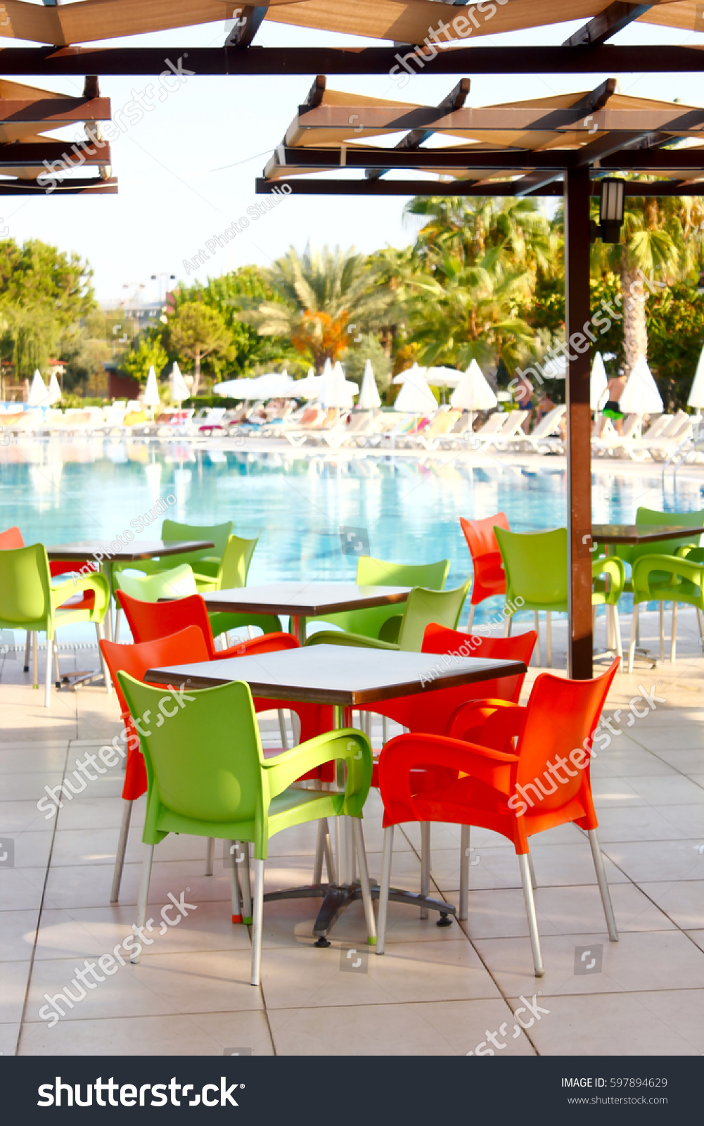 Chairs For Pool Colorful Plastic Tables Chairs Near Pool Stock Photo Edit Now