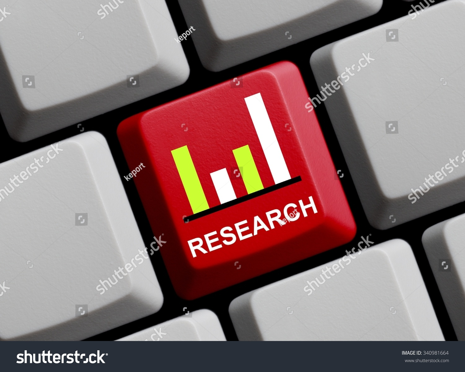 hight resolution of computer keyboard showing icon of diagram and research