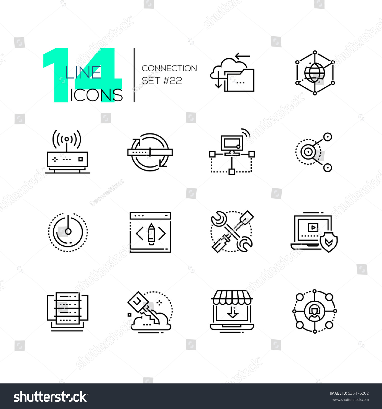 hight resolution of connection monochromatic modern single line icons set cloud interlink power button folder drive key laptop check internet router