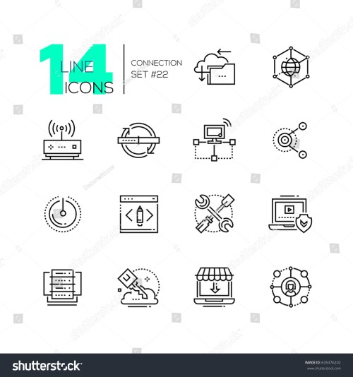small resolution of connection monochromatic modern single line icons set cloud interlink power button folder drive key laptop check internet router