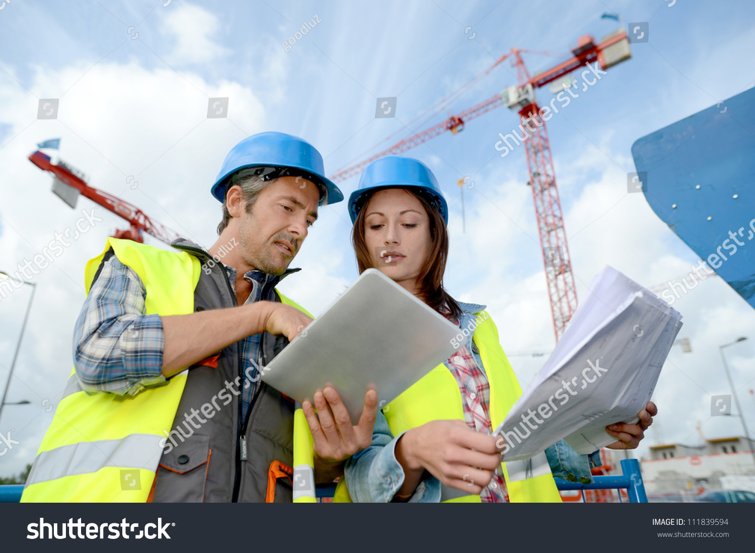 Construction Manager Engineer Working On Building Stock Photo 111839594  Shutterstock