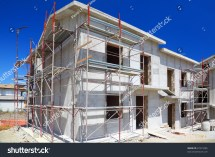 Construction Building Twostory White Concrete Stock