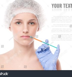 cosmetic botox injection in the female face lips zone isolated on white [ 1500 x 1122 Pixel ]