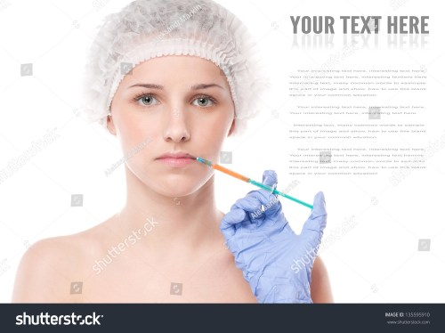 small resolution of cosmetic botox injection in the female face lips zone isolated on white