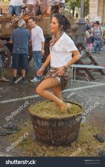 Italian Women Stomping Grapes Making Wine
