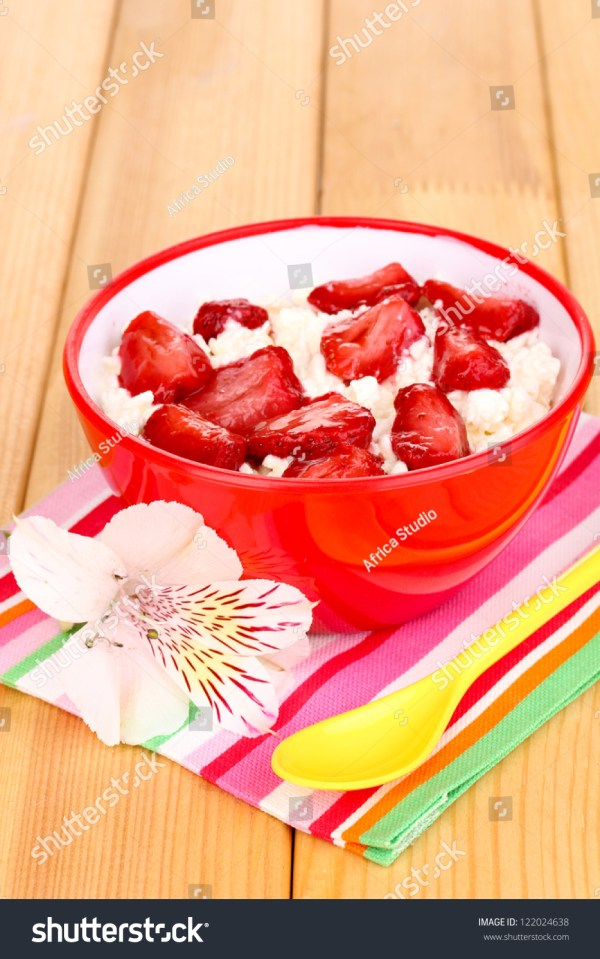 Cottage Cheese Red Bowl Sliced Strawberries Stock Photo