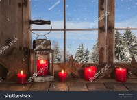 Country Christmas Decoration Wooden Window Decorated Stock ...