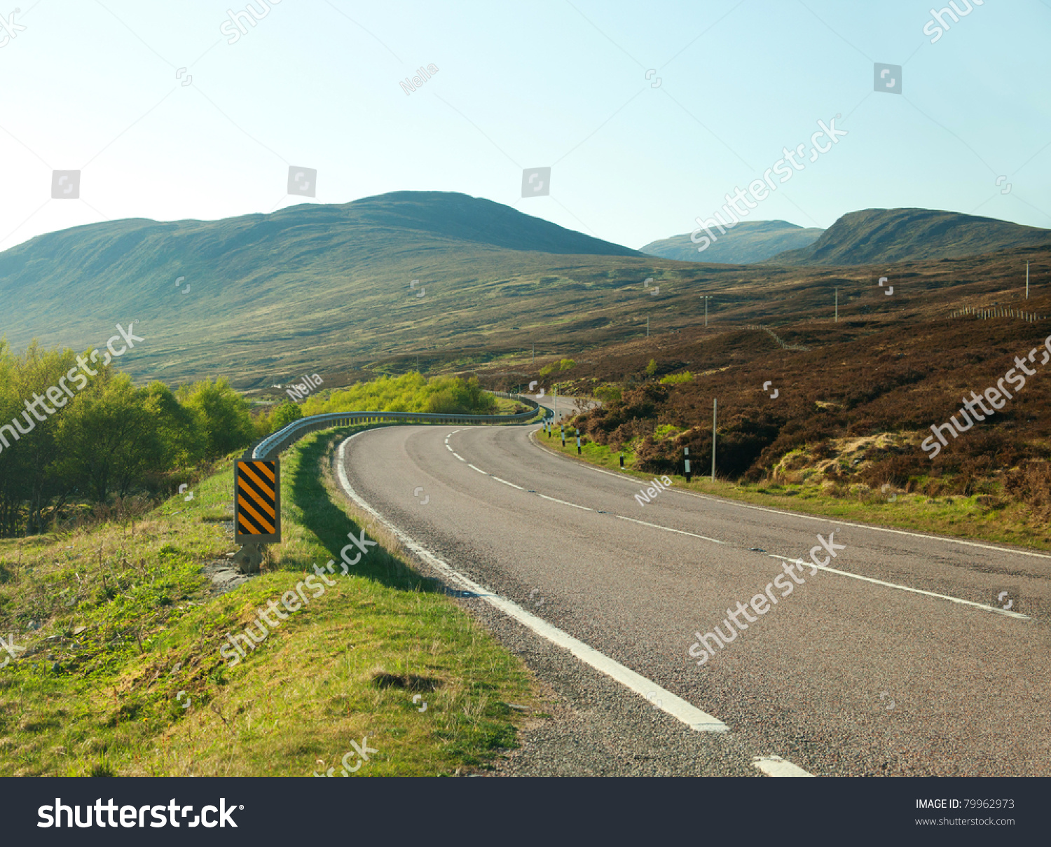Country Road Winding Through The Scottish Highlands. Uk. Stock Photo 79962973 : Shutterstock
