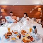 Couple Having Breakfast Bed Luxury Hotel Stock Photo Edit Now 1324115543