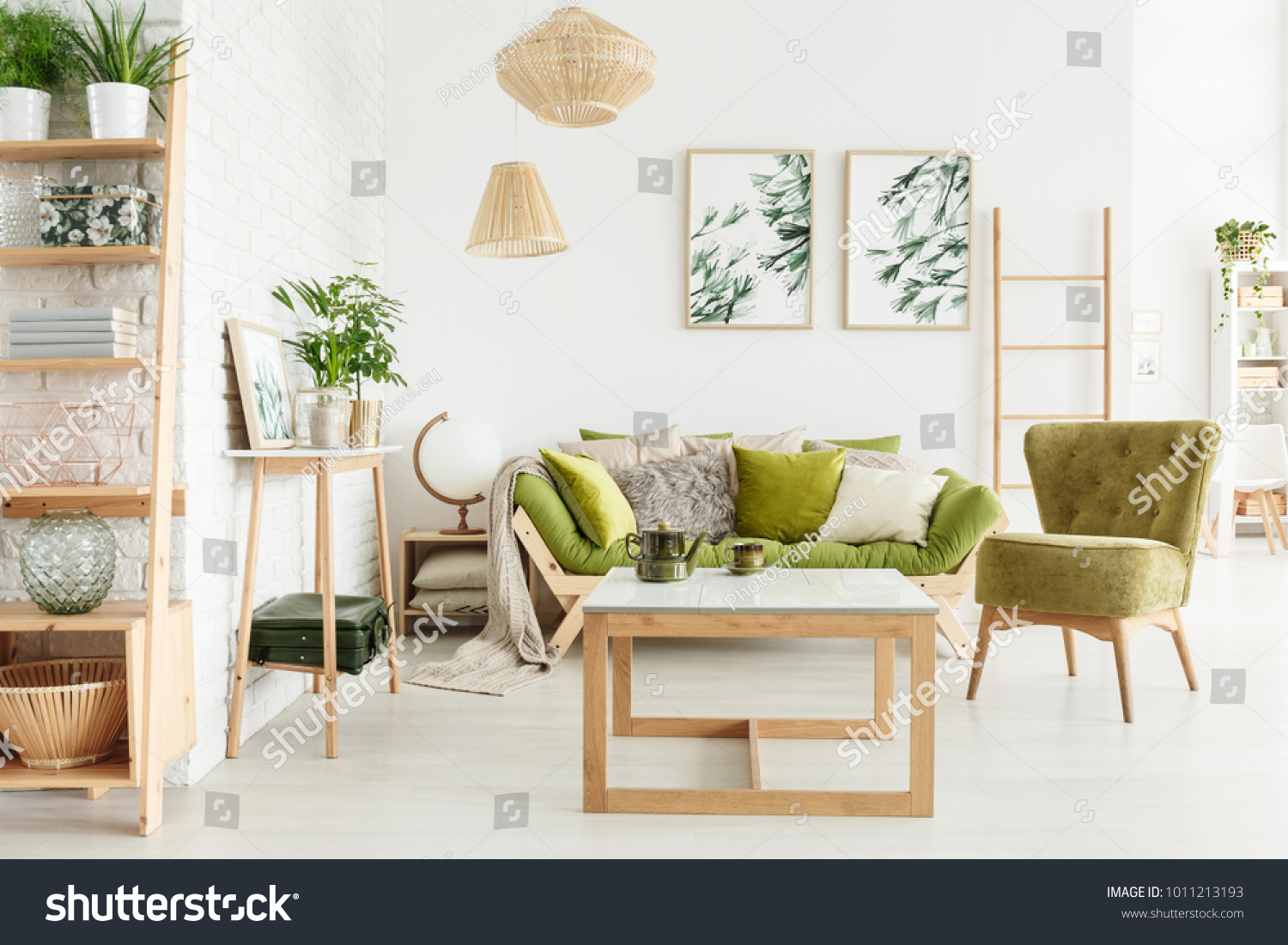 green cushions living room furniture set with tv cozy interior suede stock photo edit now armchair wooden sofa and decorations