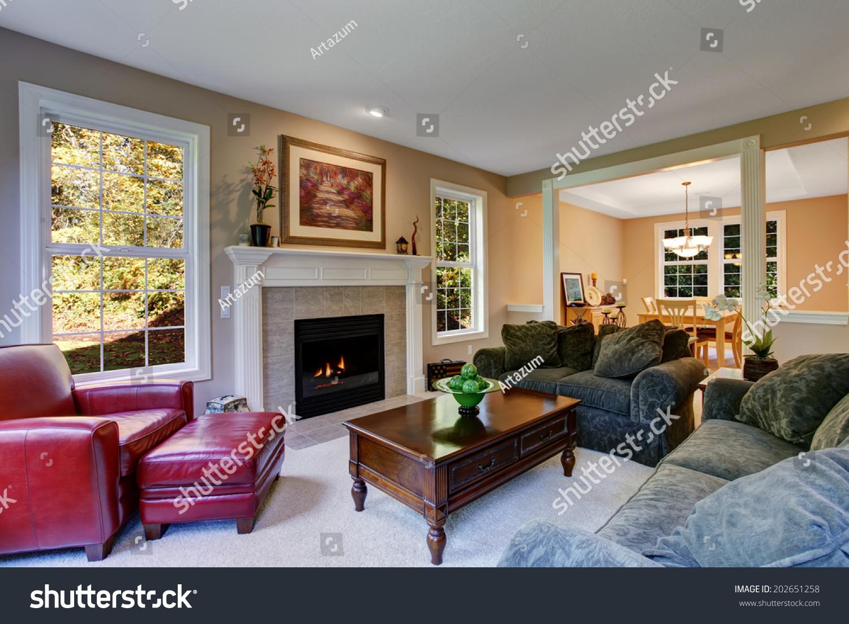 https www shutterstock com image photo cozy living room fireplace dark green 202651258