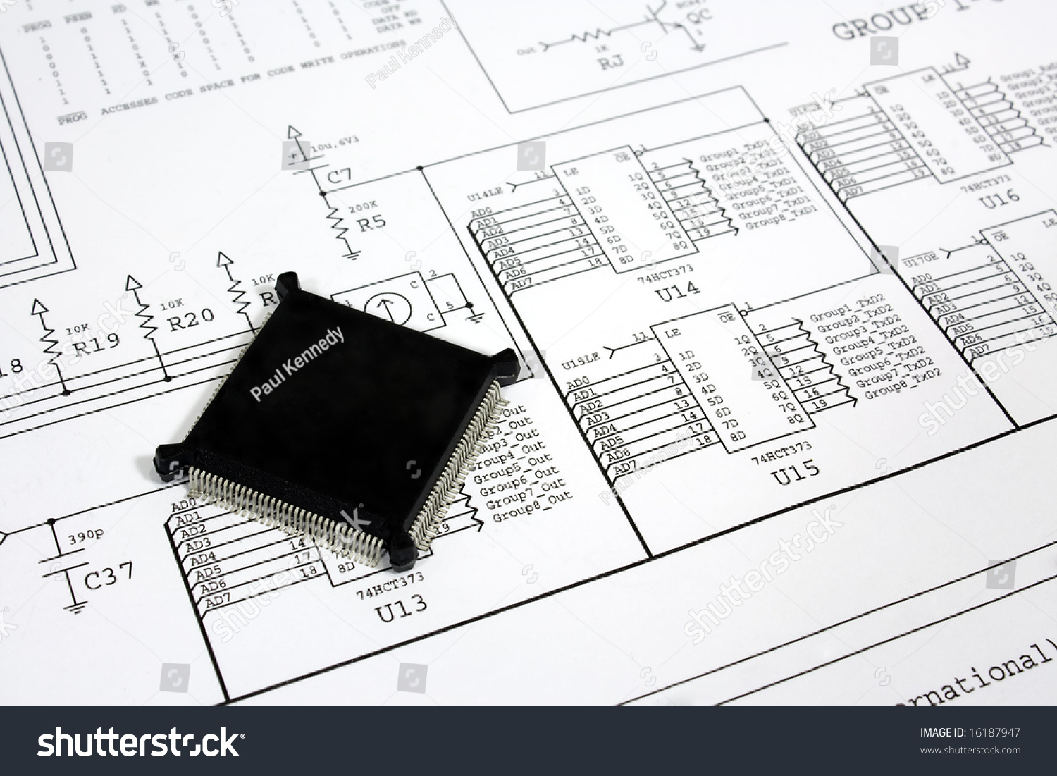 hight resolution of cpu chip on the circuit diagram