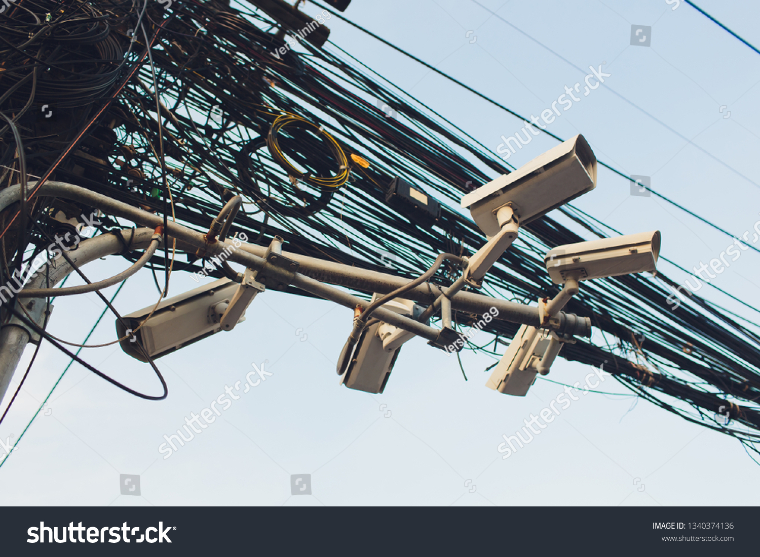 hight resolution of crazy messy chaos wires cables on electric poles