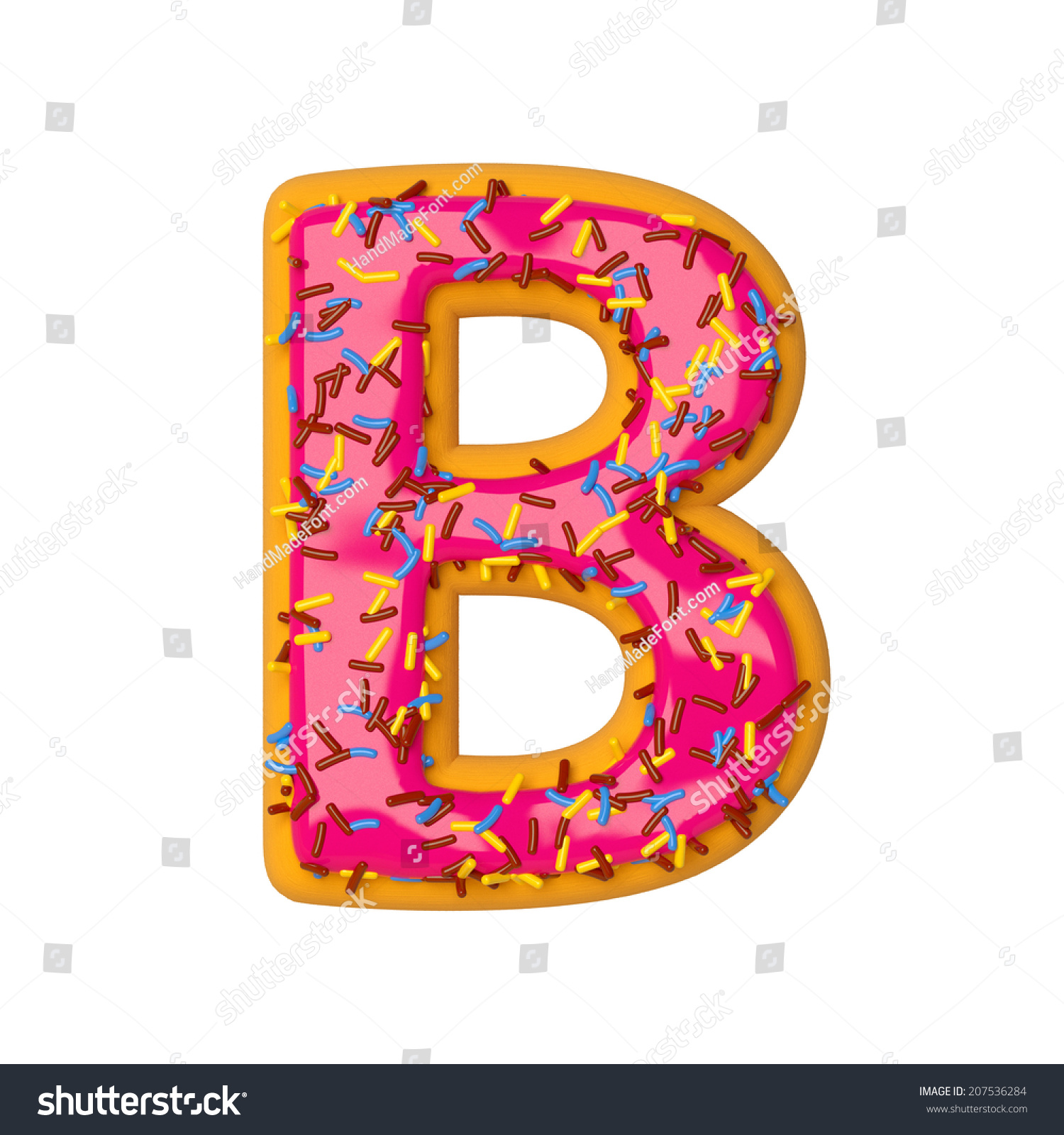 Creamy Biscuit Donut Alphabet Stock Photo