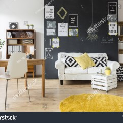 Bright Floor Lamp For Living Room Blinds Creative Chalkboard Wall Wooden Stock Photo ...