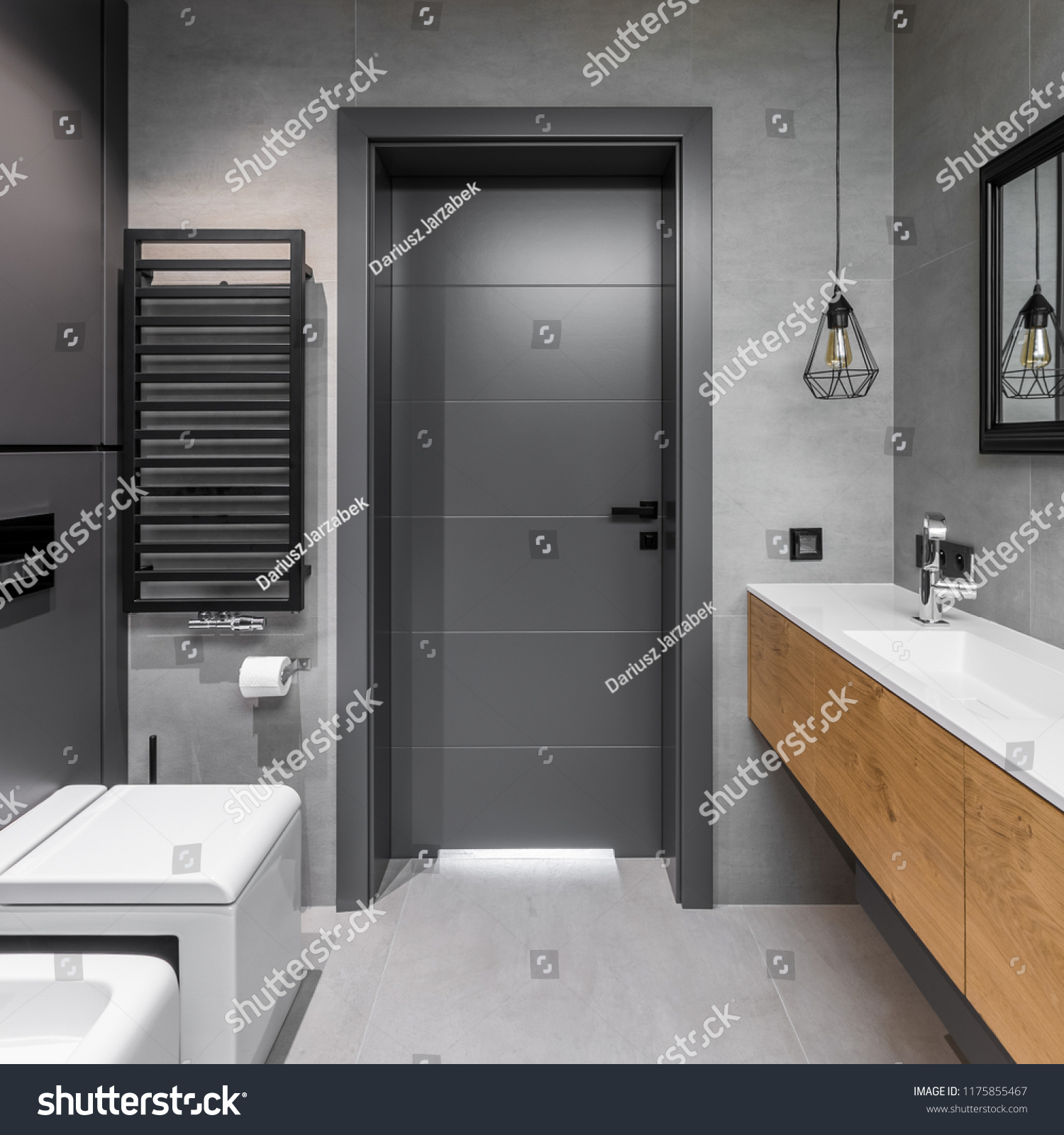 Bathroom Toilet Cabinets Cubic Toilet Wooden Cabinets Modern Gray Stock Photo Edit Now