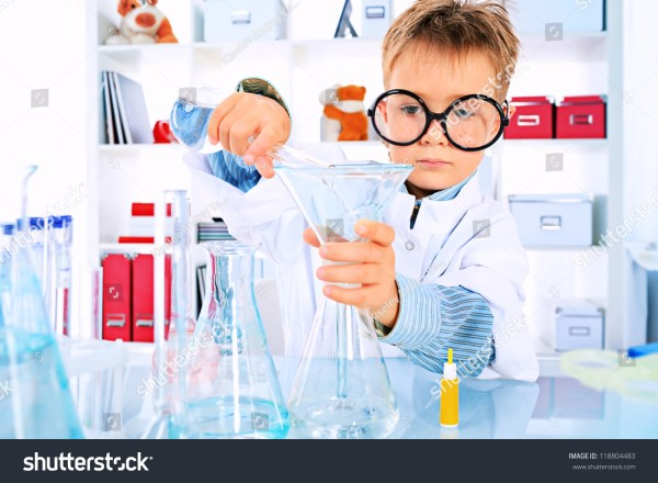 Cute Boy Making Science Experiments Laboratory Stock