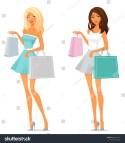 Cute Cartoon Girl Shopping