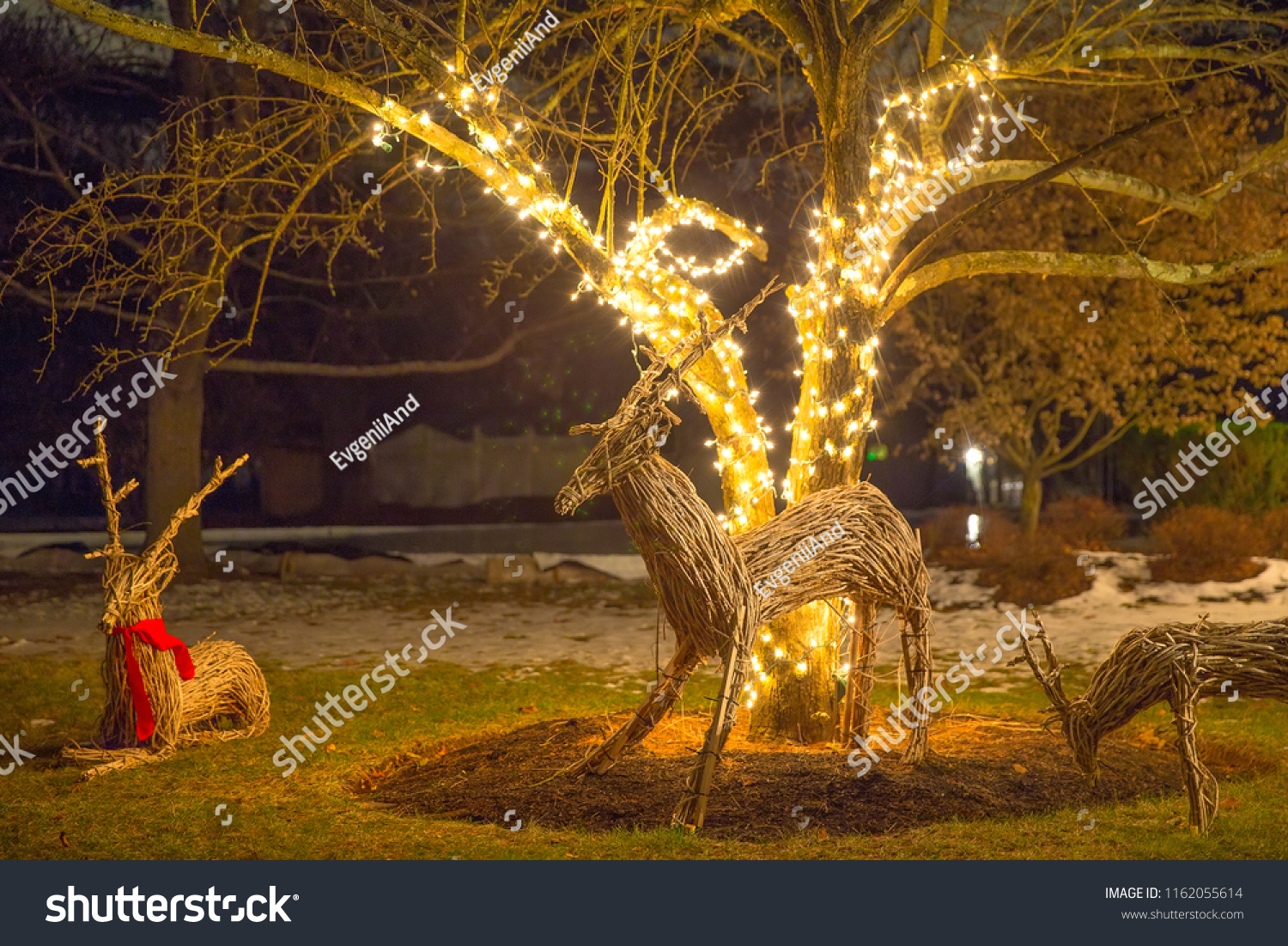 Cute Christmas Decorations Outside Christmas Reindeers Holidays Stock Image 1162055614