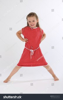 Cute Little Girl Barefoot Red Dress Stock 685908259