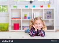 Cute Little Girl Lay On Carpet Stock Photo 321973529 ...