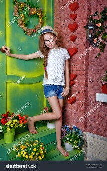 Cute Teen Girl Barefoot Standing Stock 385988695