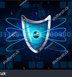 cyber security antivirus concept with blue shield futuristic lines atom cubes electrons [ 1500 x 1041 Pixel ]