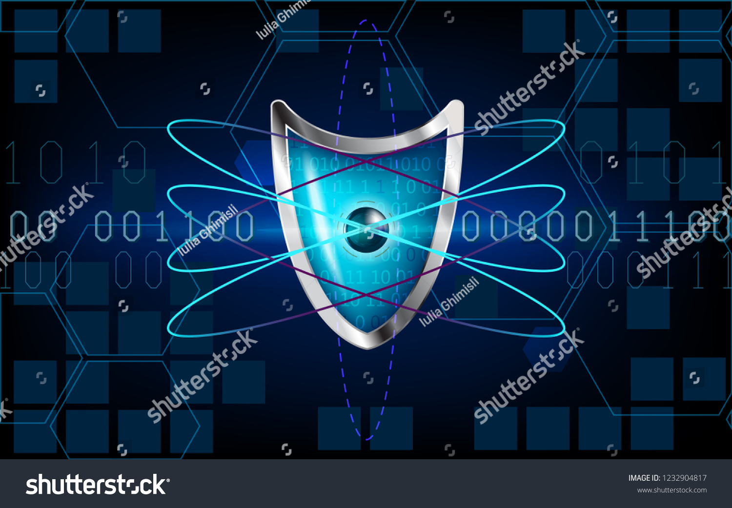 hight resolution of cyber security antivirus concept with blue shield futuristic lines atom cubes electrons