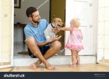 Dad Daughter Dog Man Girl Stock 582807976