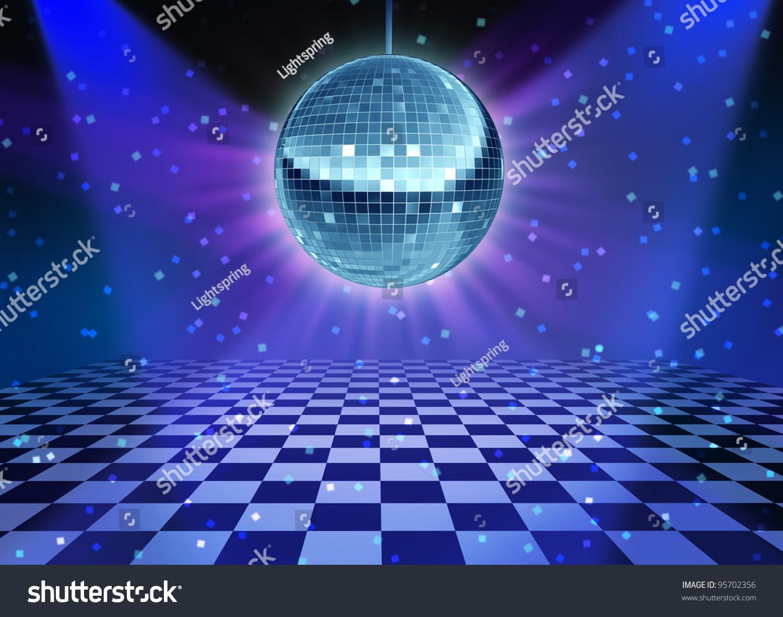 Dance Floor Disco Night Mirror Ball Stock Illustration