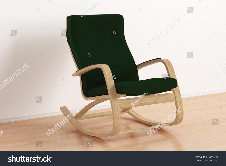 green rocking chair all weather garden dark bright interior stock