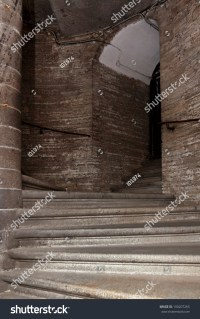 Dark Stone Spiral Staircase With Railings Stock Photo ...