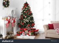 Decorated Christmas Room Beautiful Fir Tree Stock Photo ...