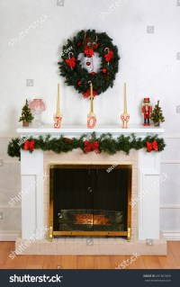 Decorated Fireplace For Christmas Stock Photo 491867869 ...
