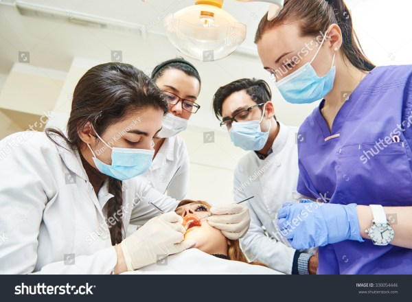 Dentistry Education Female Dentist Doctor Teacher Stock