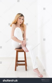 Depressed Woman Sitting Sad Room Empty Stock