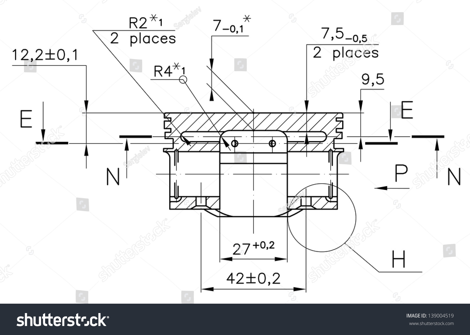 hight resolution of design drawings of nonexistent internal combustion engine piston clipping path