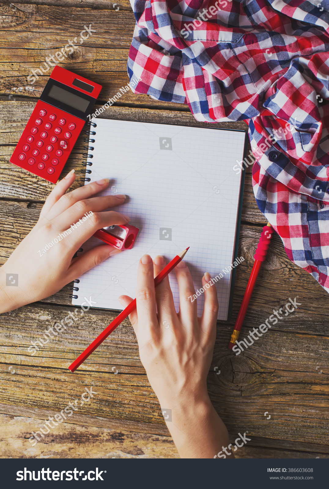 Desk School Supplies Action Hands During Stock Photo