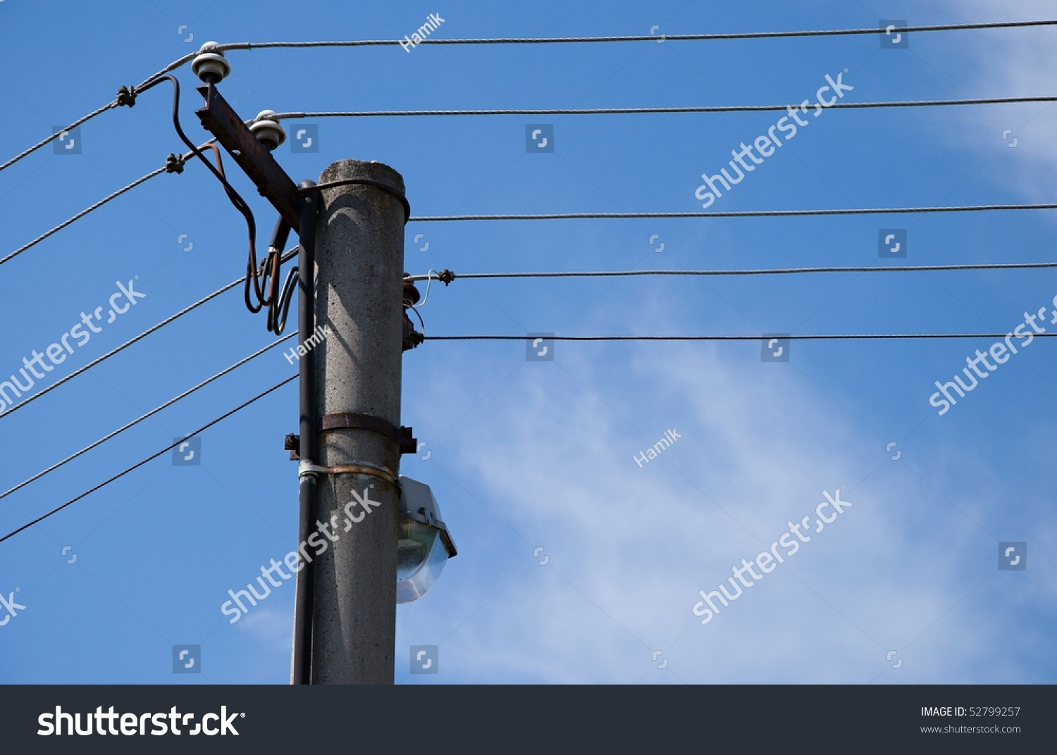 hight resolution of detail image of power pole with lamp