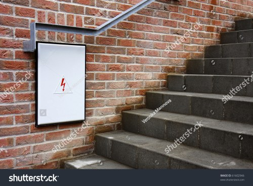 small resolution of detail of a closed fuse box with white door under the stairs brick wall