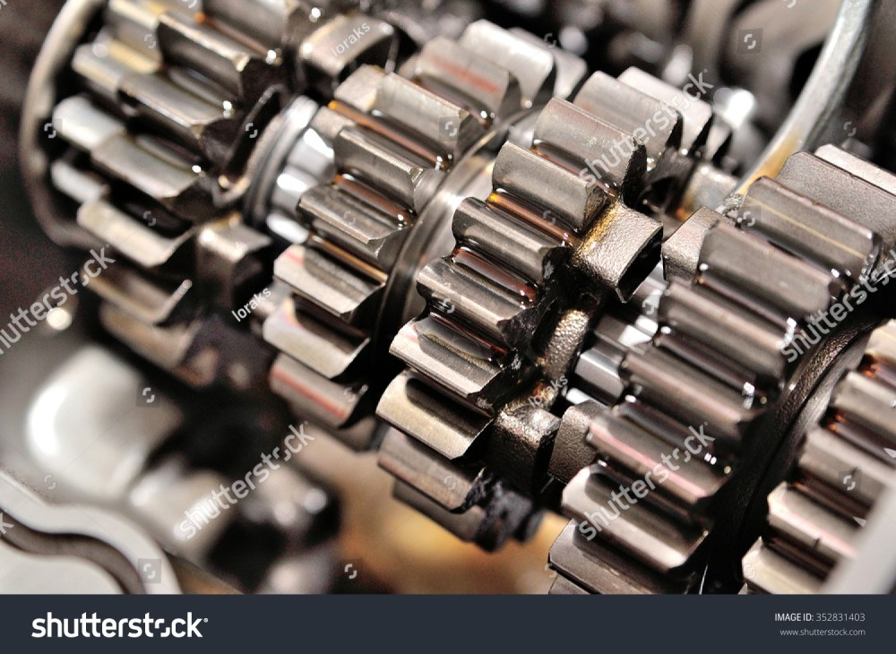 medium resolution of detail of a motorcycle gearbox