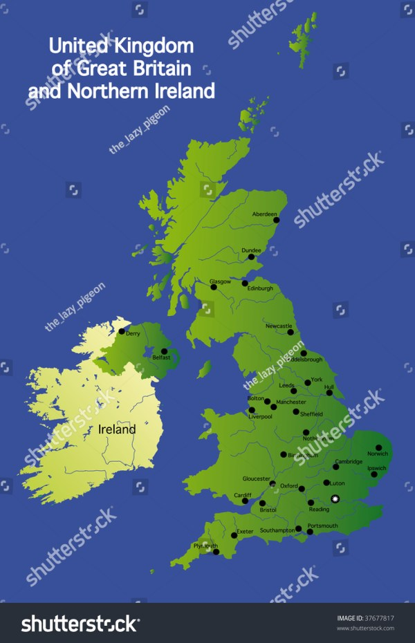 Detailed Map Of Great Britain Uk Stock Photo 37677817