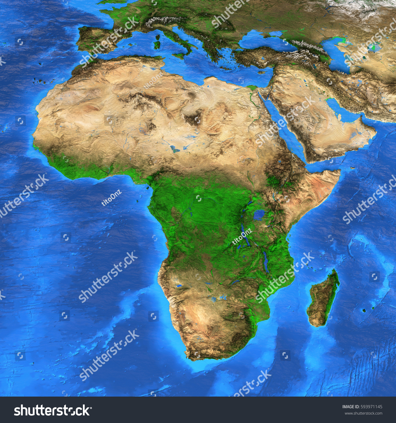 Detailed Satellite View Earth Landforms Africa Stock