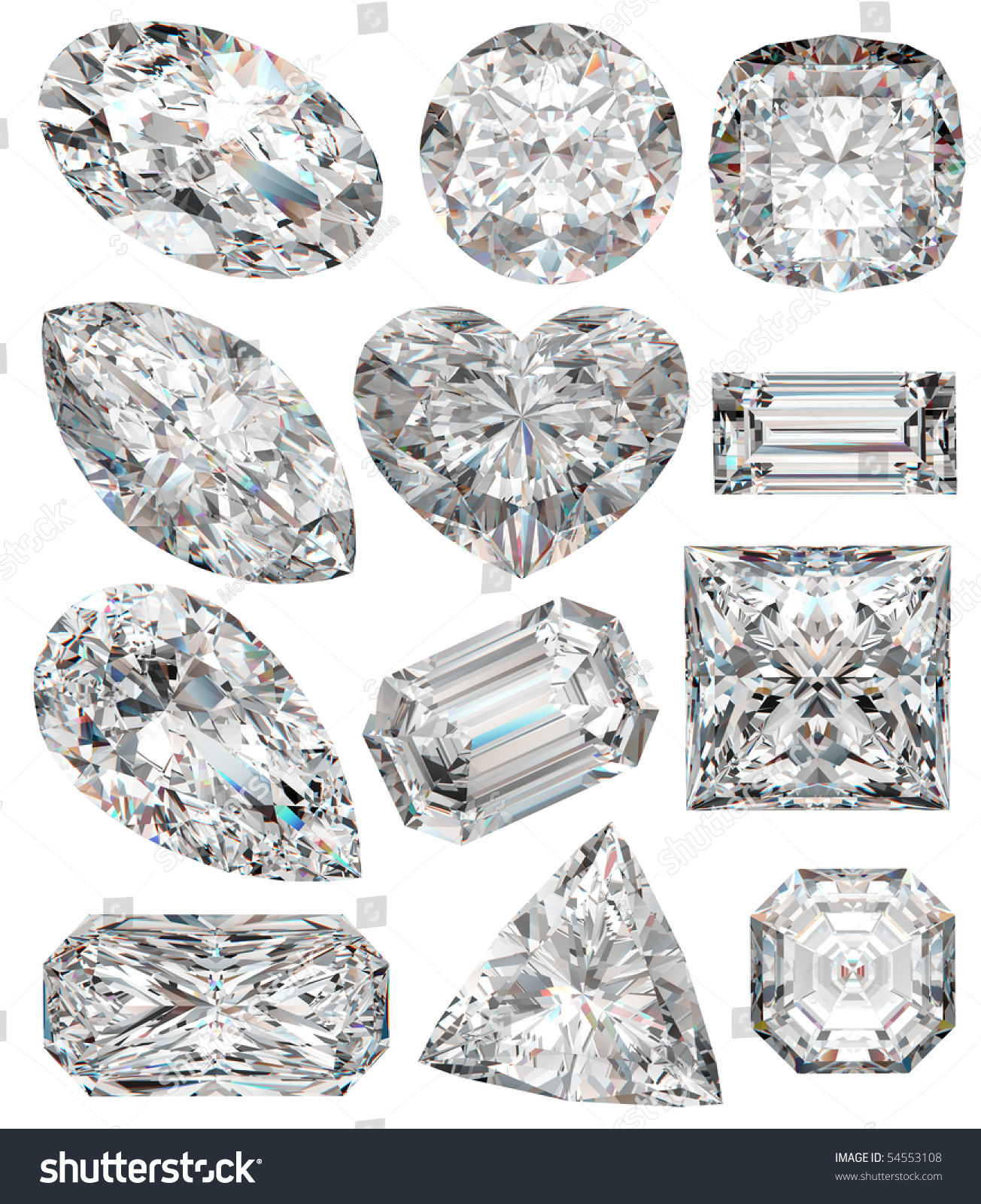 Diamond Shapes Isolated On White 3d Stock Illustration