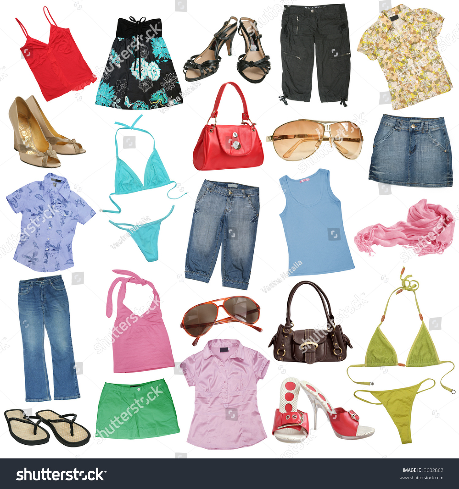 Different Female Clothes Shoes Accessories 1 Stock Photo