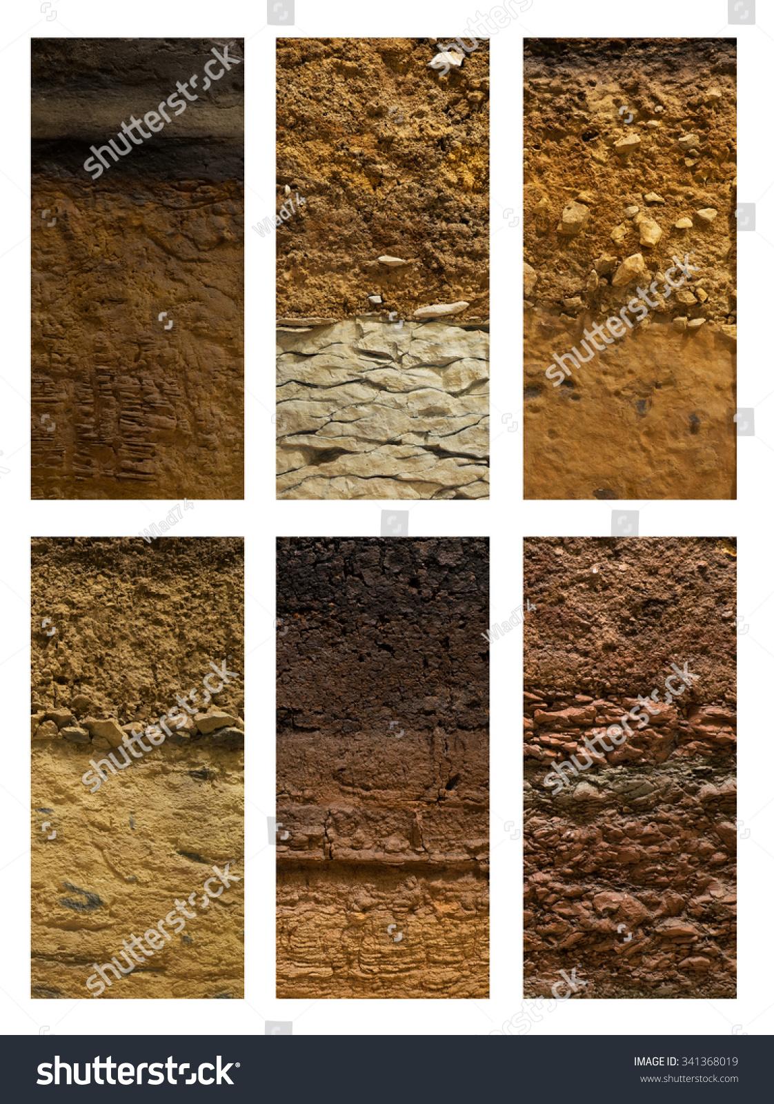 Different Types Soil Ground On White Stock Photo