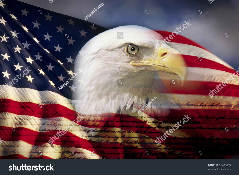 Digital Composite American Bald Eagle Flag Stock Photo