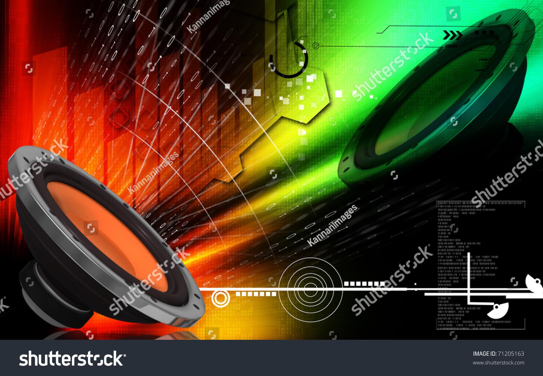 Digital Illustration Of Car Stereo In Colour Background - 71205163 : Shutterstock
