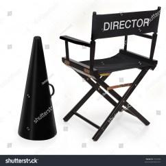 Directors Chair White Salon Hydraulic Megaphone On Background Stock Photo